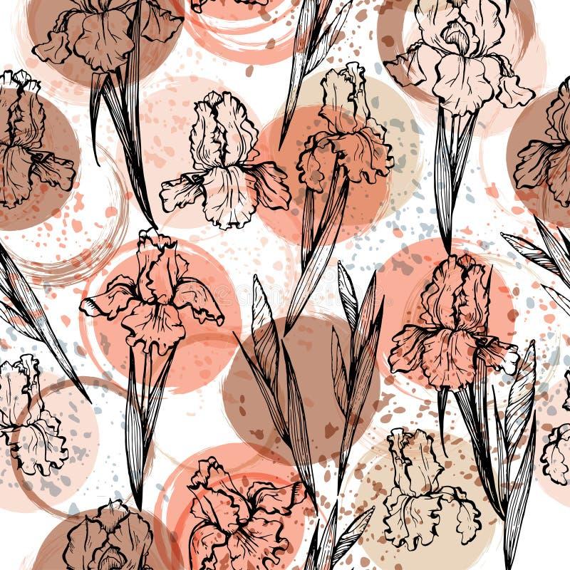 El estampado de flores moderno inconsútil con los iris, puntos, borra y salpica de la pintura ilustración del vector
