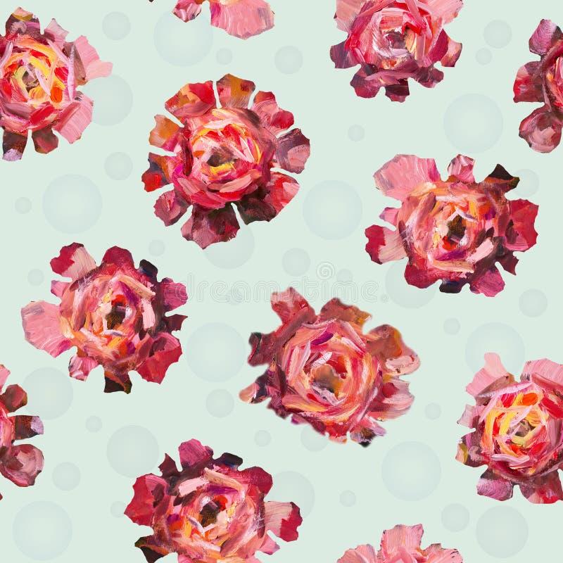 El estampado de plores floral de las rosas abstractas, peonías florece con las bolas en el fondo blanco stock de ilustración