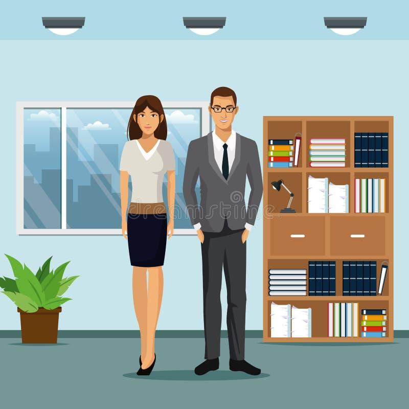 El estante de la oficina del espacio de trabajo de la mujer y del hombre planta la ventana del pote ilustración del vector