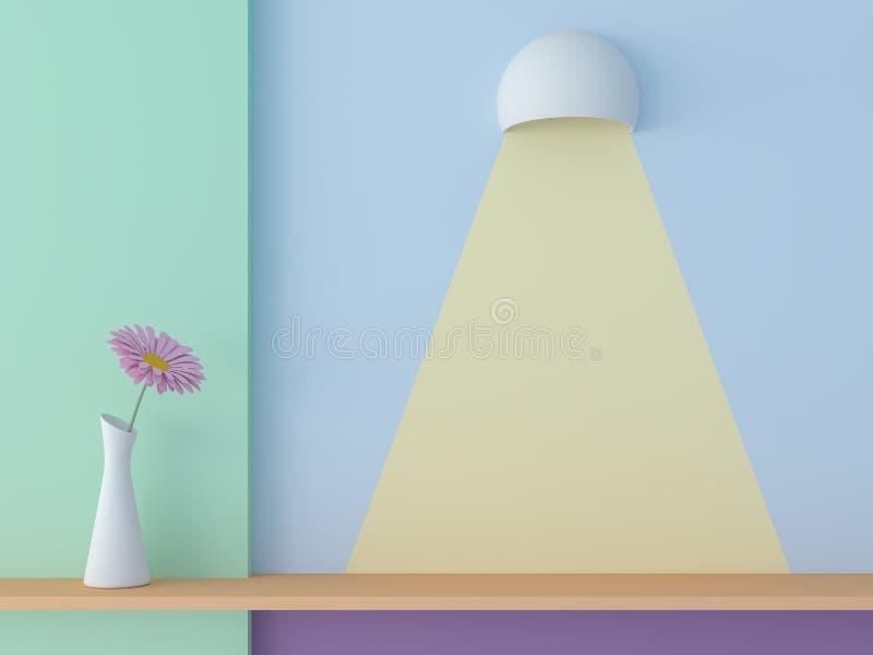 El estante de la pared con el color en colores pastel 3d rinde ilustración del vector