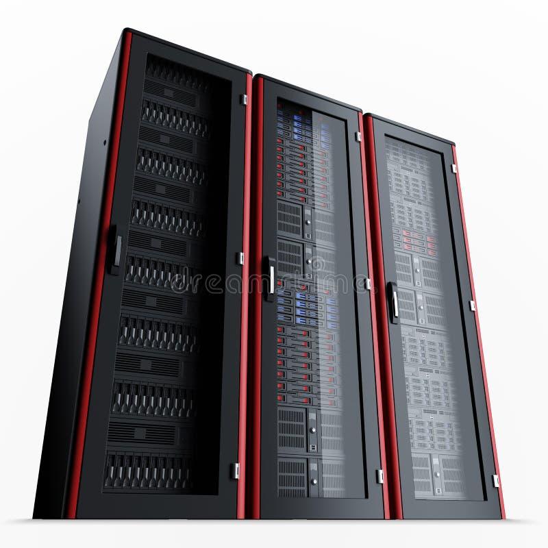 El estante de trabajo del servidor aislado en el backgroundRow negro de tres apagó los estantes del servidor aislados en fondo ne ilustración del vector