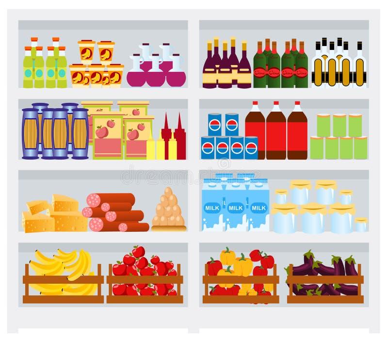 El estante del supermercado con las mercancías, frutas y verduras, bebe Refrigerador comercial por completo de los productos láct stock de ilustración