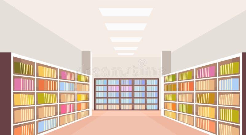 El estante interior de la biblioteca moderna no vacia ningún estante para libros del sitio de la gente con los libros que leen co ilustración del vector