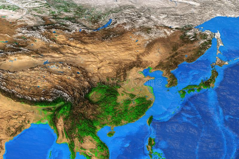 El Este de Asia - mapa de alta resolución stock de ilustración