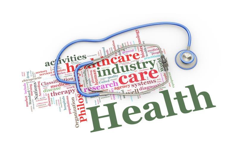 el estetoscopio 3d sobre palabra de la atención sanitaria marca el ejemplo con etiqueta stock de ilustración