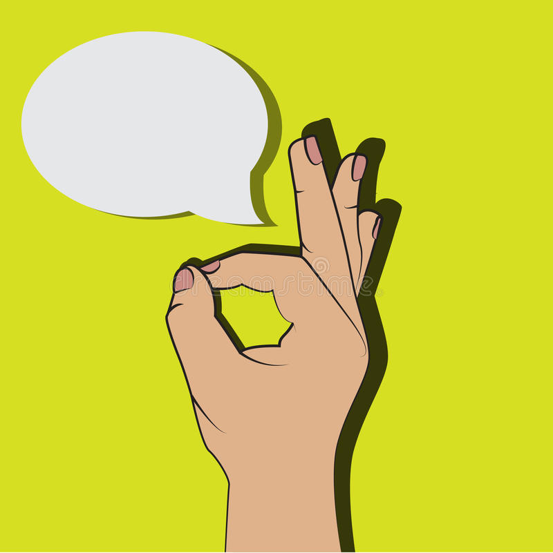 El estilo aceptable de los tebeos de la historieta de la muestra de la mano, gesto aceptable con piensa la burbuja para su texto, libre illustration
