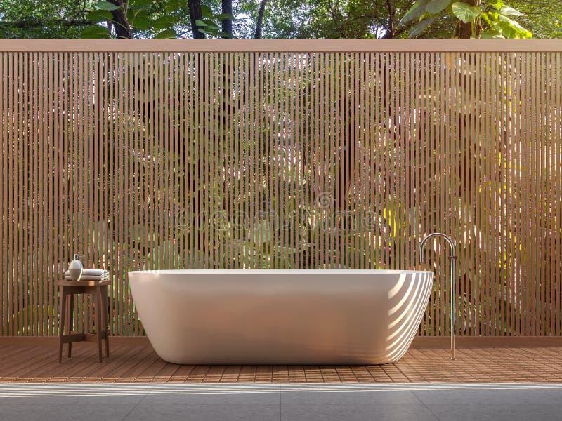 El estilo contemporáneo 3d del cuarto de baño al aire libre rinde stock de ilustración