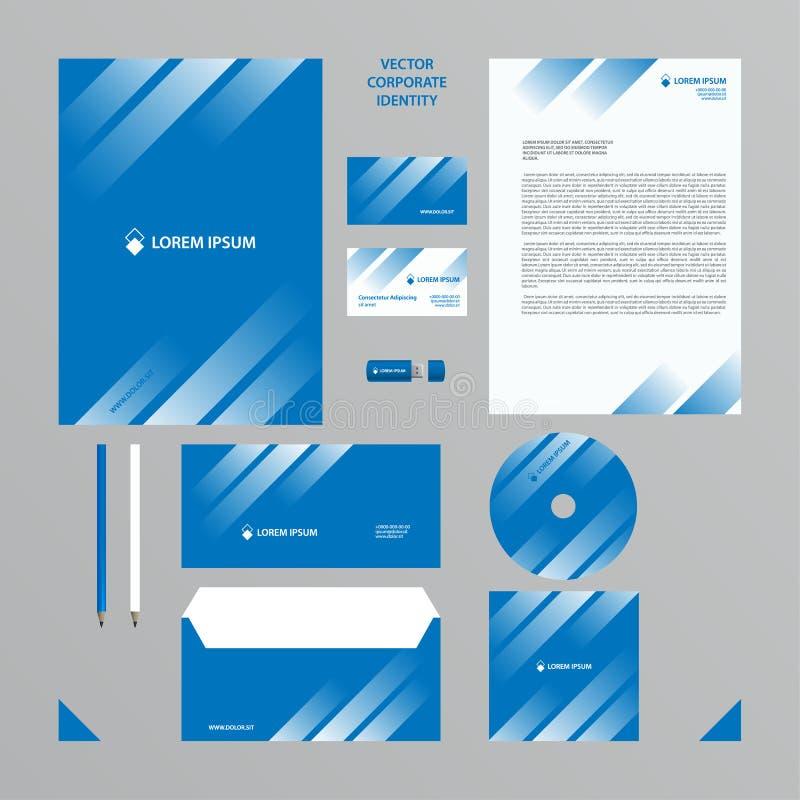 El estilo de la compañía fijó en tonos azules con la pendiente transparente blanca en las líneas ilustración del vector