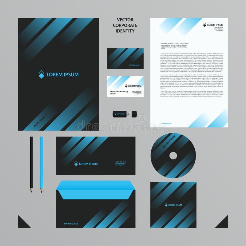 El estilo de la compañía fijó en tonos negros con pendiente transparente azul en las líneas stock de ilustración