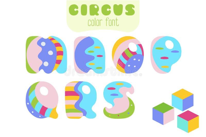 El estilo de la historieta letra M, N, O, P, Q, R, S y bloques del juguete ilustración del vector