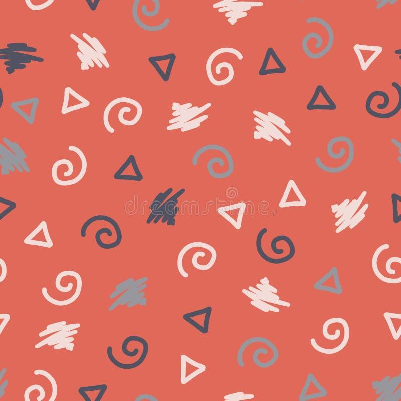 El estilo de Memphis forma el fondo inconsútil del vector Modelo abstracto moderno Giros, triángulo, garabato azul, rosa, blanco  stock de ilustración