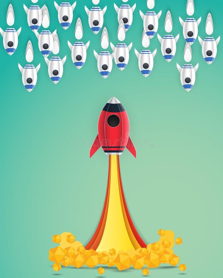 El estilo del arte del papel del espacio del lanzamiento del cohete del concepto, crea negocio libre illustration