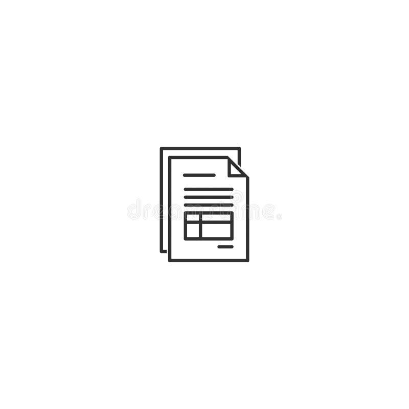 El estilo del esquema del icono de la factura del documento aisló 10 libre illustration