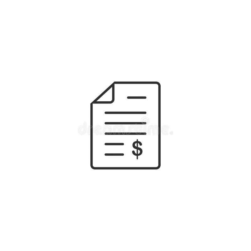 El estilo del esquema del icono de la factura del documento aisló 2 ilustración del vector