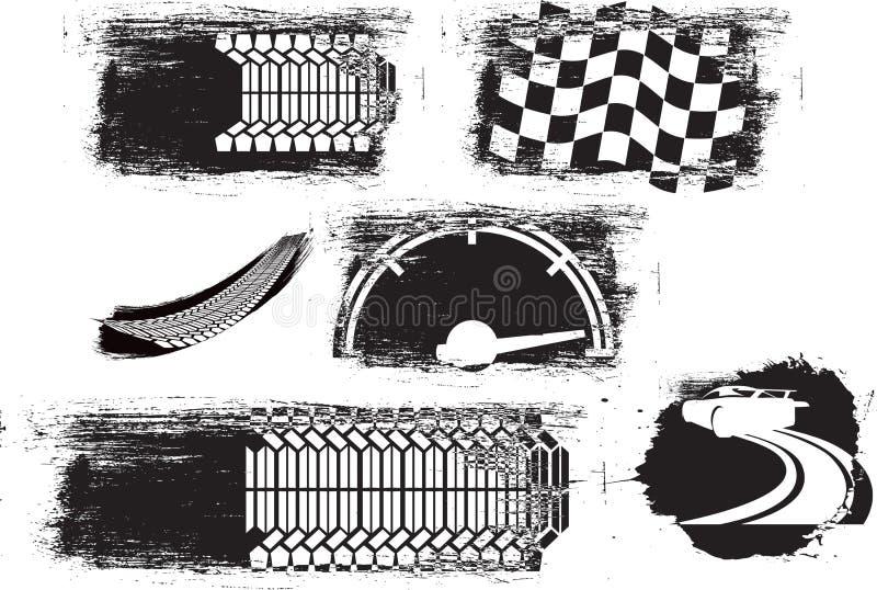 El estilo del Grunge distrssed gráficos del motor o de la velocidad libre illustration