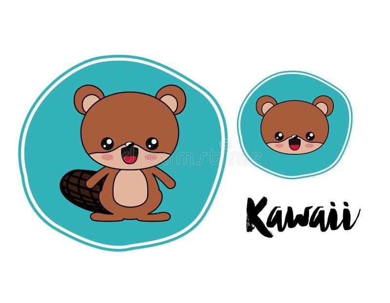 El estilo del kawaii del carácter del castor aisló diseño del icono ilustración del vector