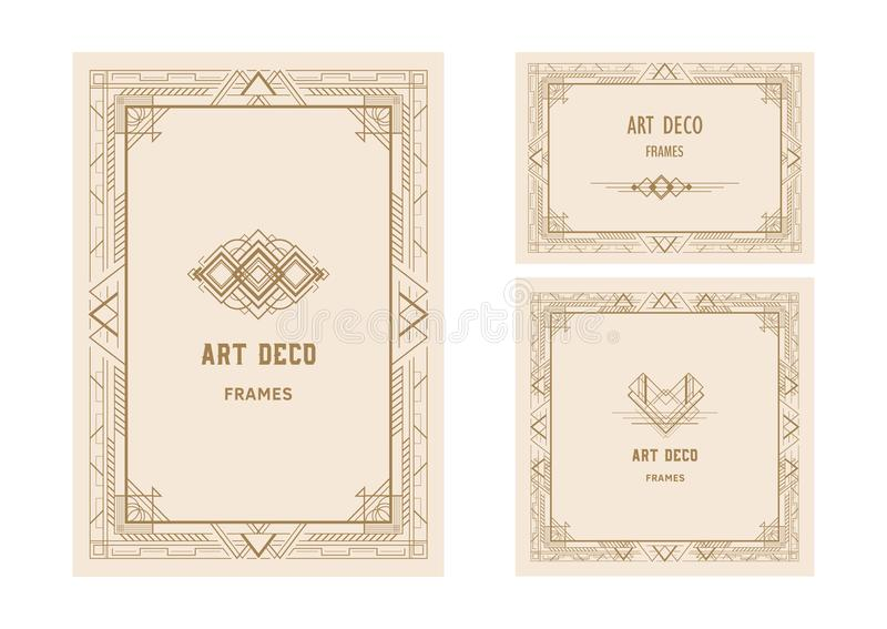 El estilo del vintage, Art Deco enmarca el ejemplo del vector del oro ilustración del vector
