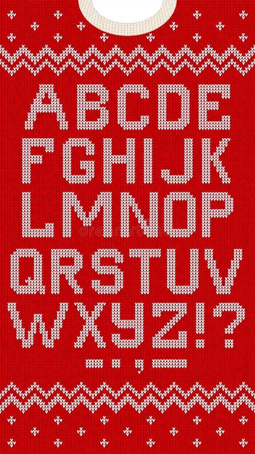 El estilo escandinavo de la fuente popular de la Navidad hizo punto el modelo inconsútil del alfabeto de las letras ilustración del vector