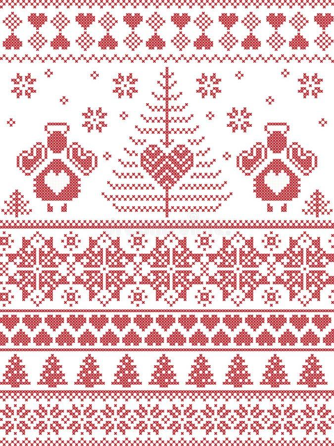 El estilo escandinavo inspiró el modelo inconsútil de la Navidad y del invierno festivo en la puntada cruzada, haciendo punto est ilustración del vector