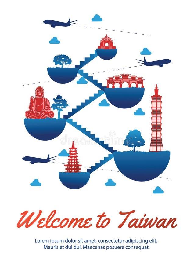 El estilo famoso de la silueta de la señal del top de Taiwán en la isla del flotador conecta vínculo con la escalera, el diseño r stock de ilustración