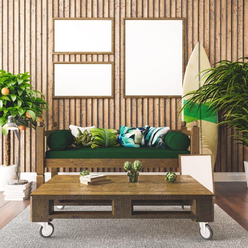 El estilo interior, hawaiano tropical 3d rinde ilustración del vector