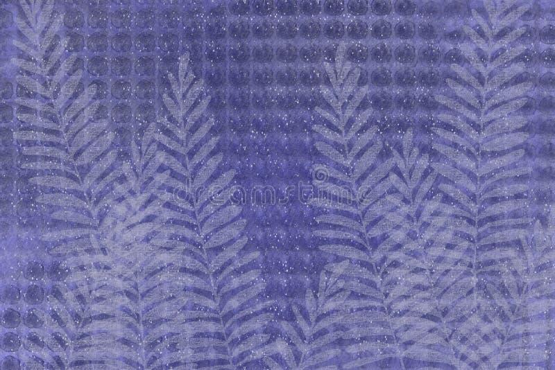 El estilo japonés del ceñidor del helecho de textura del punto se descoloró fondo único del diseño de la mirada del batik de los  ilustración del vector