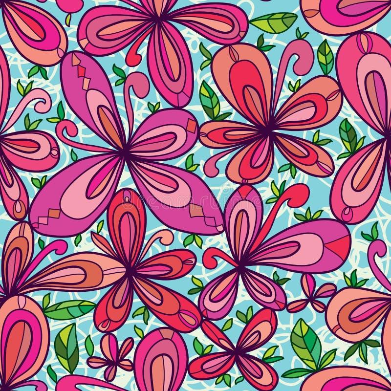El estilo lindo del dibujo de la flor deja el modelo inconsútil ilustración del vector