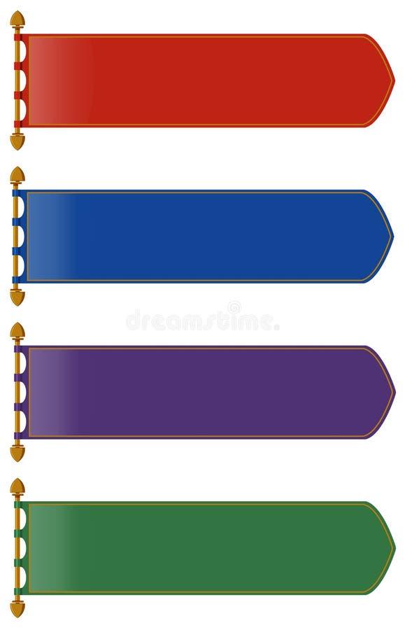 El estilo medieval de banderas en muchos colorea libre illustration