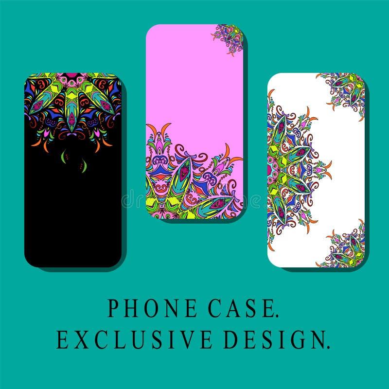 El estilo Mobil llama por teléfono a las cubiertas con los elementos decorativos orientales, estilo del vintage diseño exclusivo ilustración del vector