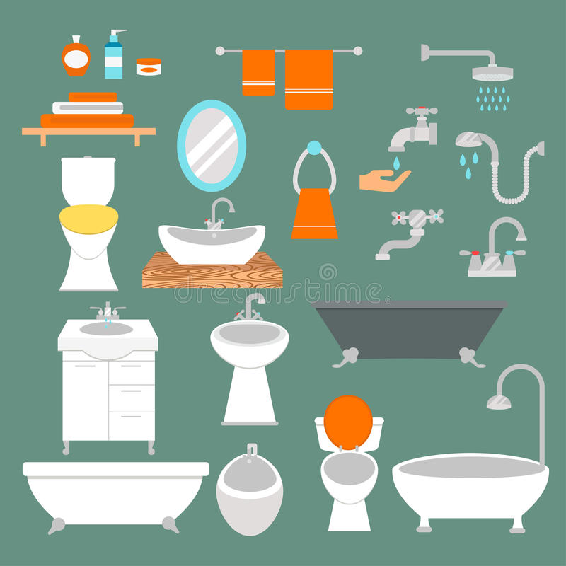 El estilo plano del cuarto de baño y del retrete vector los iconos aislados en fondo libre illustration