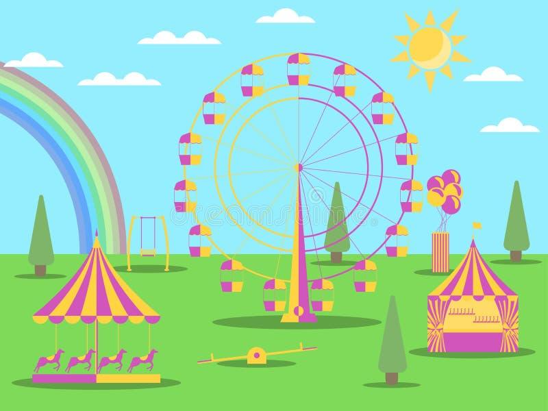 El estilo plano del parque de atracciones Una noria, un tiovivo con los caballos y un oscilación Tiempo soleado con un arco iris  ilustración del vector