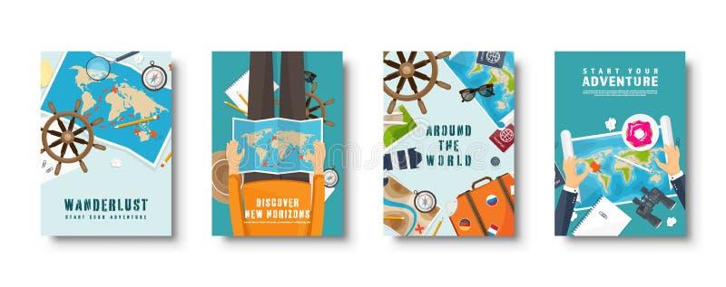 El estilo plano del viaje y del turismo cubre el sistema Mundo, navegaci?n del mapa de la tierra Viaje, d?as de fiesta del tiempo libre illustration