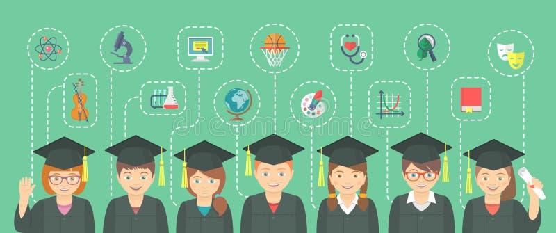 El estilo plano embroma concepto de la graduación con los iconos de la escuela ilustración del vector