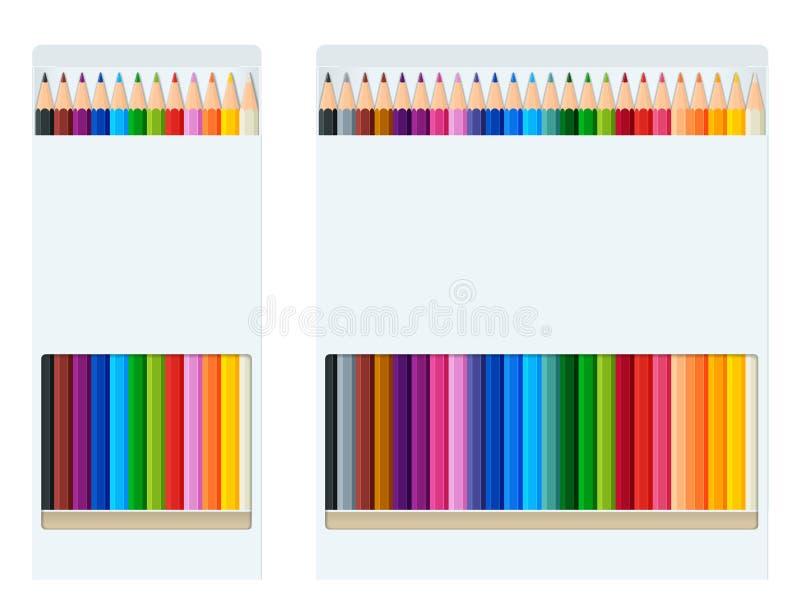 El estilo realista afiló los creyones o el aislante coloreados del estilo del arco iris de los colores del lápiz en el fondo blan stock de ilustración