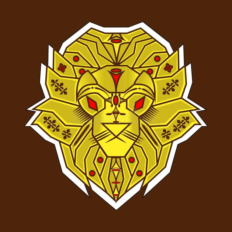 El estilo simple del león amarillo ilustración del vector