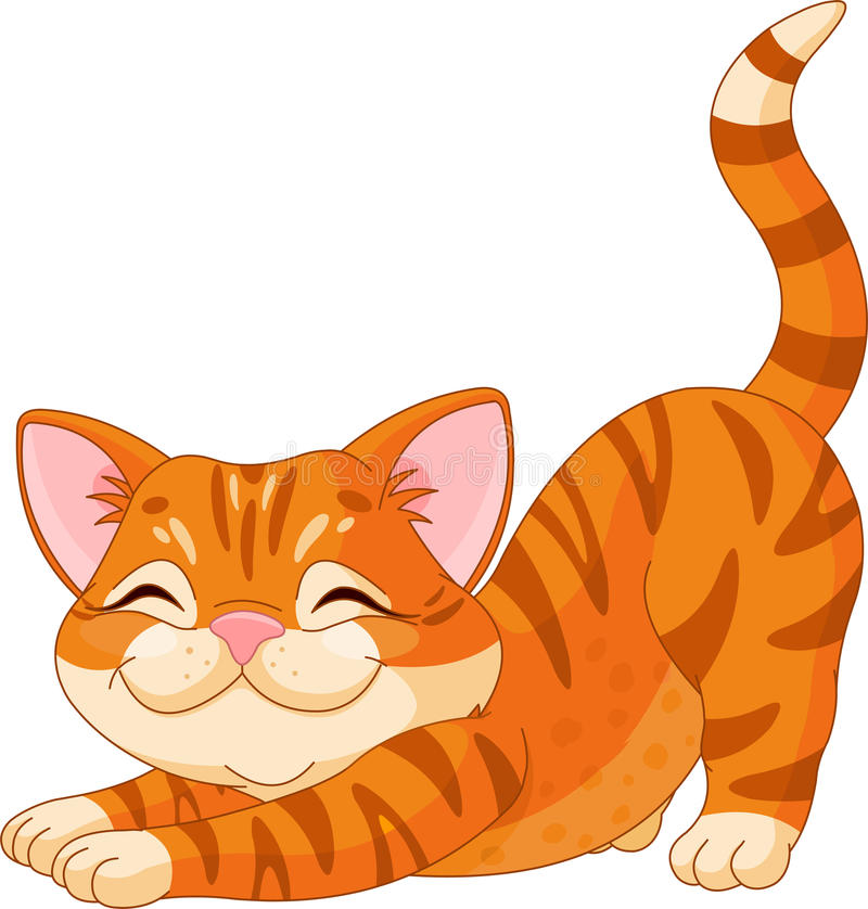 El estirar lindo del gatito stock de ilustración