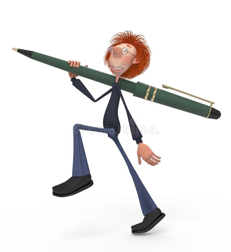El estudiante 3D con una pluma ilustración del vector