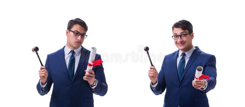 El estudiante de Derecho del abogado con un mazo aislado en el fondo blanco imágenes de archivo libres de regalías