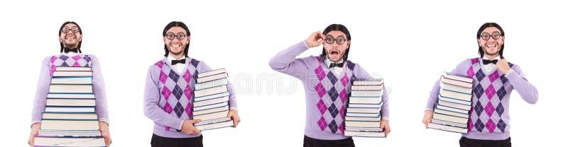 El estudiante divertido con los libros aislados en blanco imágenes de archivo libres de regalías