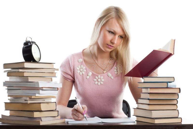 El estudiante femenino se prepara para la examinación imagen de archivo libre de regalías
