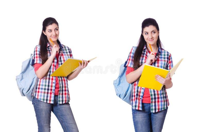 El estudiante joven aislado en el blanco imagen de archivo libre de regalías