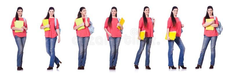 El estudiante joven aislado en blanco imagen de archivo libre de regalías