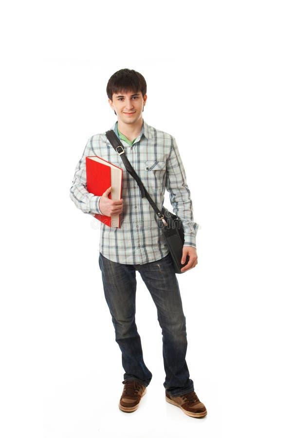 El estudiante joven aislado en un blanco fotografía de archivo libre de regalías