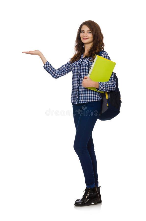 El estudiante joven en blanco imagenes de archivo