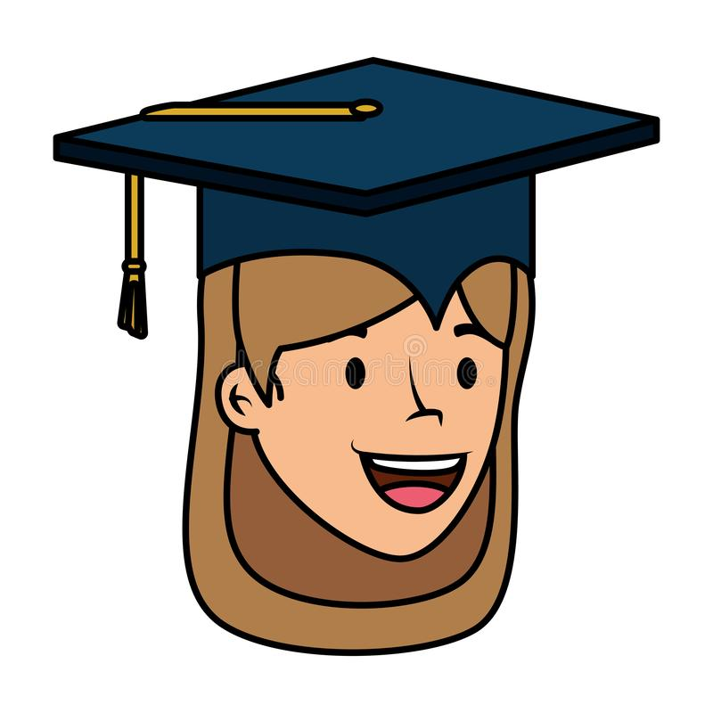 El estudiante joven graduó el carácter principal de la muchacha stock de ilustración