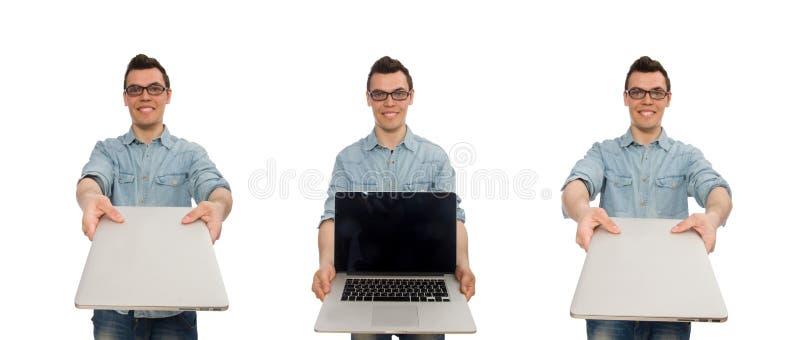 El estudiante masculino joven aislado en blanco fotografía de archivo