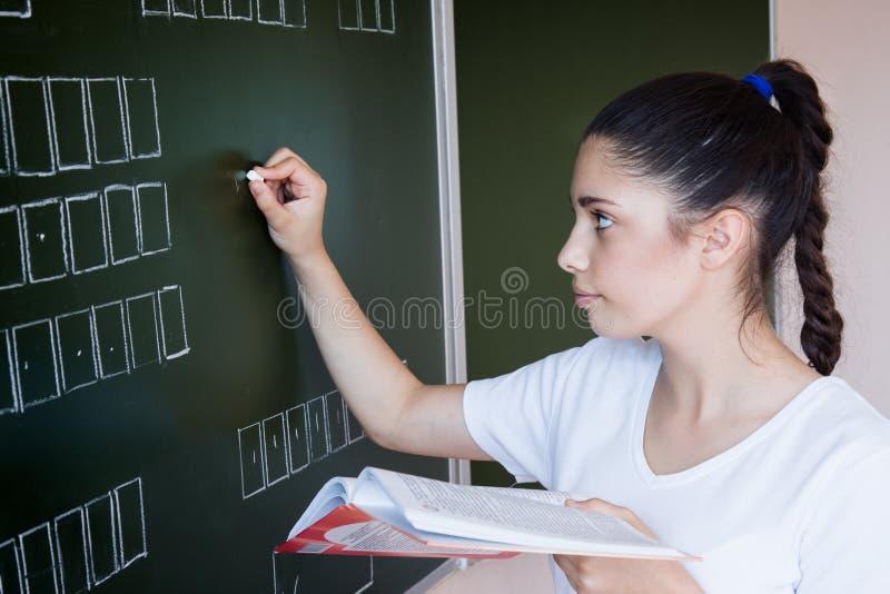 El estudiante permanece la pizarra cercana en sala de clase imagen de archivo