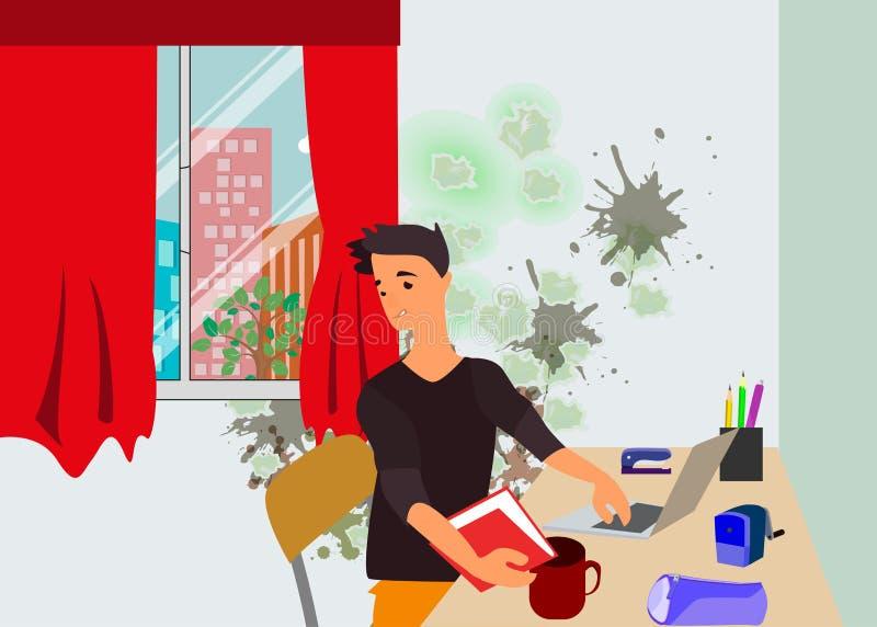 El estudiante que se sienta en las lecciones de enseñanza del sitio moldea ilustración del vector