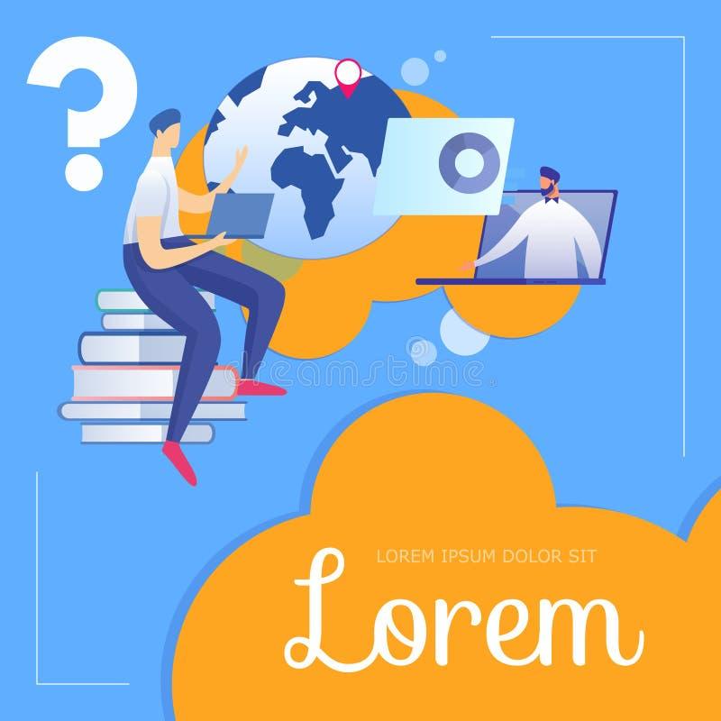 El estudiante Sitting en los libros escucha profesor en el ordenador portátil ilustración del vector