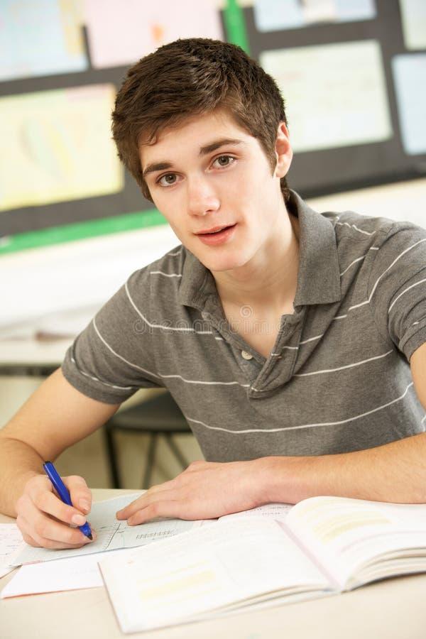 El estudiar adolescente masculino del estudiante imagenes de archivo